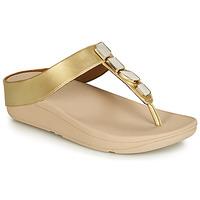 Cipők Női Lábujjközös papucsok FitFlop FINO SHELLSTONE Arany
